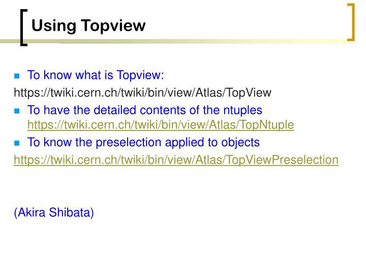 Using Topview