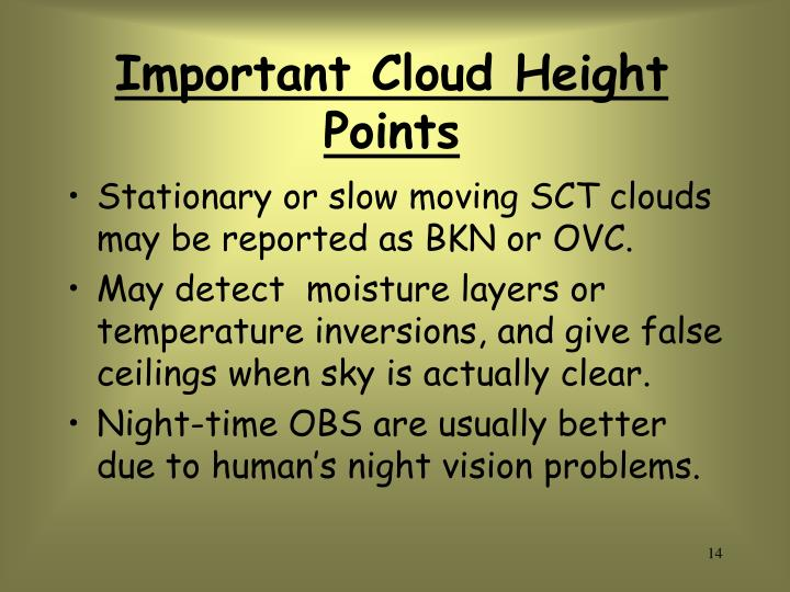 Important Cloud Height Points