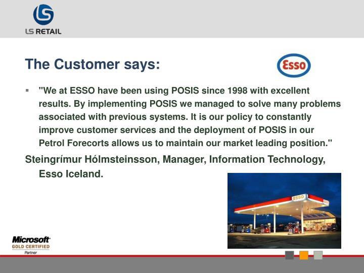 The Customer says: