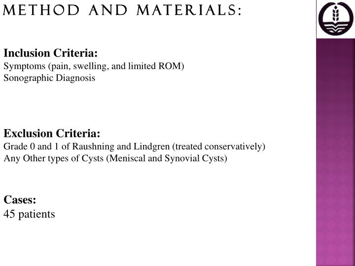 Method and Materials