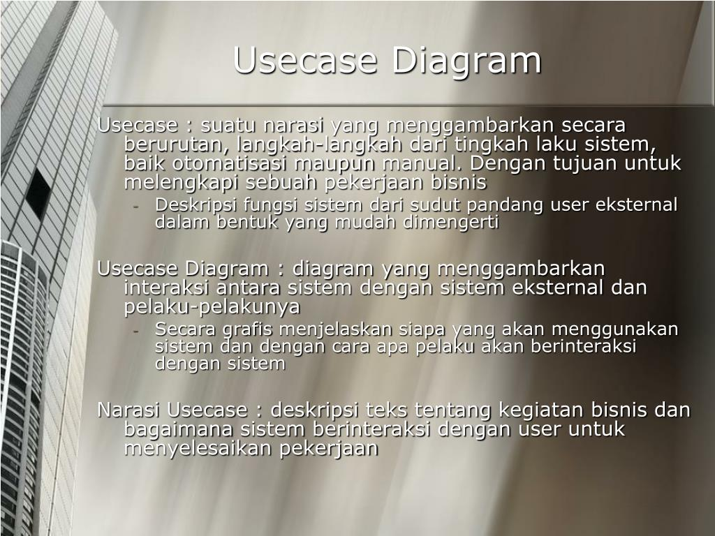 PPT - PEMODELAN KEBUTUHAN SISTEM DENGAN USECASE PowerPoint ...