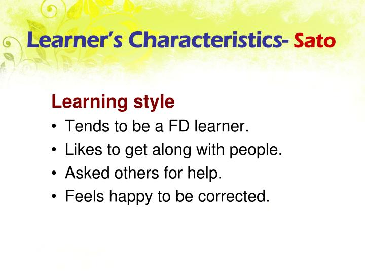 Learner's Characteristics-