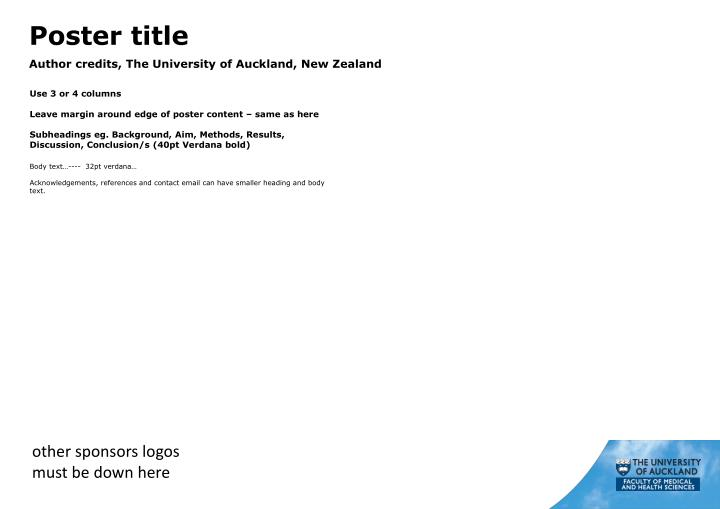 poster title author credits the university of auckland new zealand n.