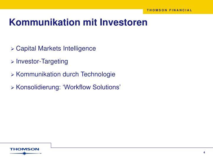 Kommunikation mit Investoren