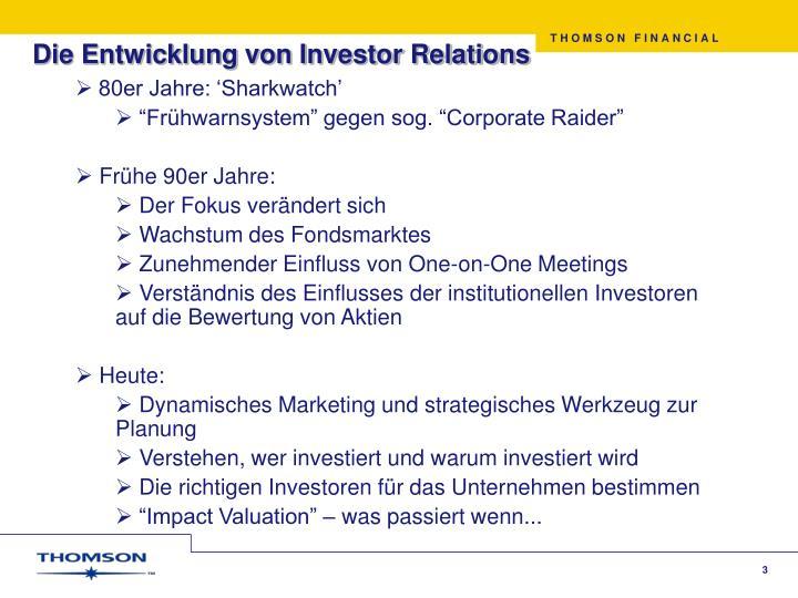 Die Entwicklung von Investor Relations