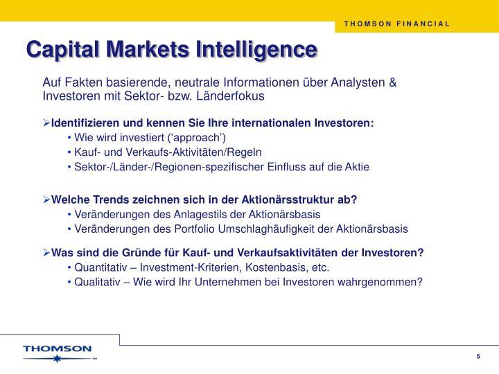 Capital Markets Intelligence
