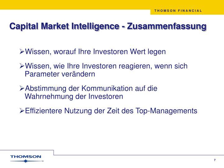 Capital Market Intelligence - Zusammenfassung