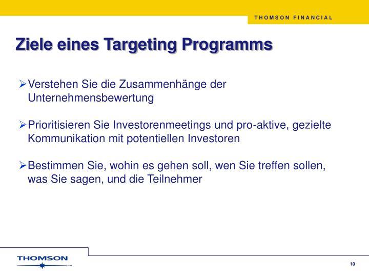 Ziele eines Targeting Programms