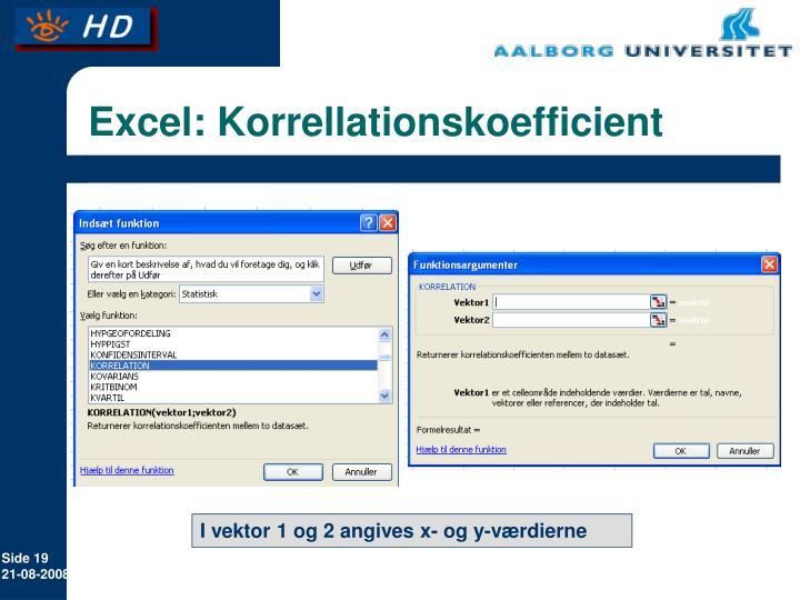 Excel: Korrellationskoefficient