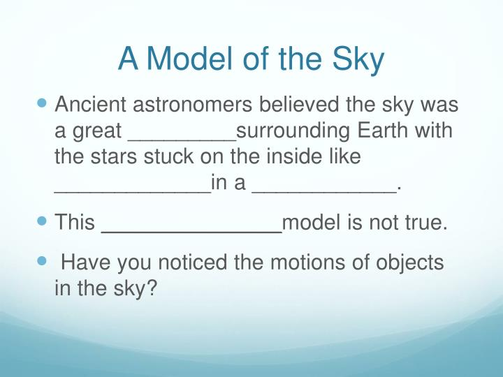 A Model of the Sky