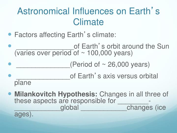 Astronomical Influences on Earth