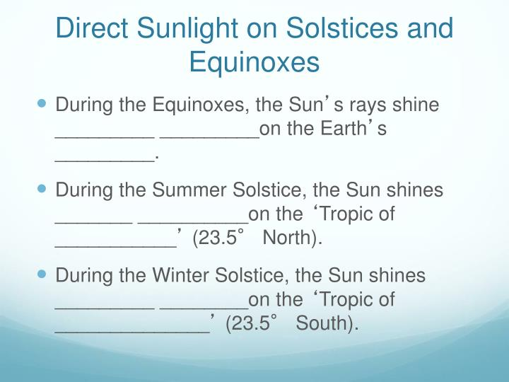 Direct Sunlight on Solstices and Equinoxes