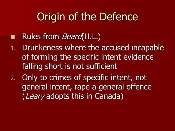 Origin of the Defence