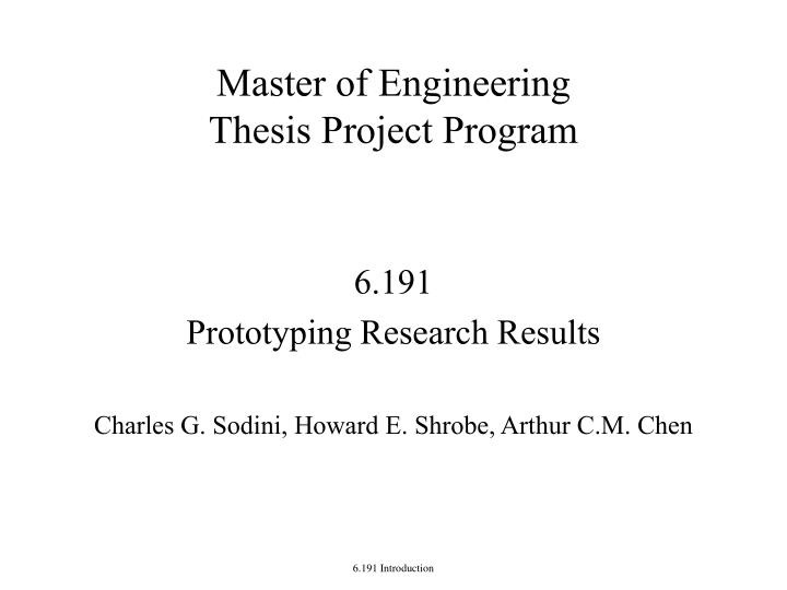 Master thesis course description