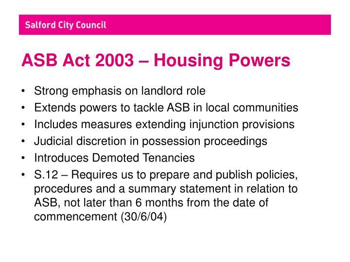 Asb act 2003 housing powers