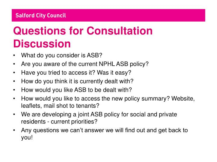 Questions for Consultation Discussion