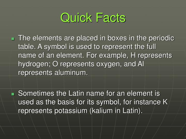 Ppt periodic table of elements powerpoint presentation id5538429 the elements are placed in boxes in the periodic table a symbol is used to represent the full name of an element for example h represents hydrogen urtaz Image collections