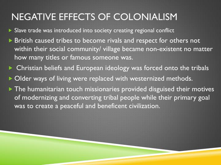 Negative effects of colonialism