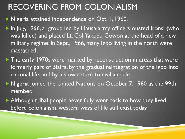 Recovering from colonialism