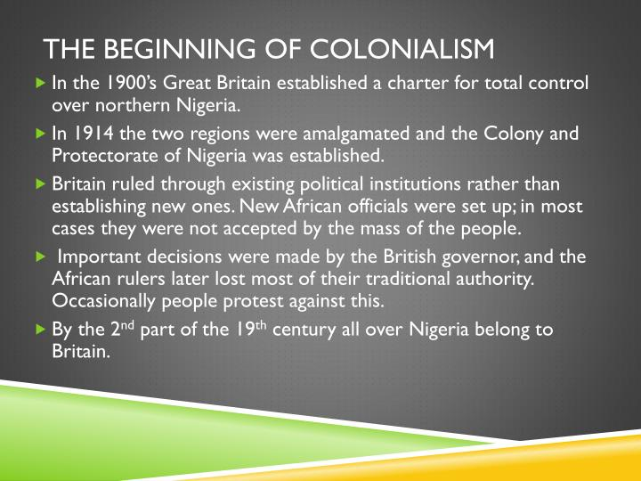 The beginning of colonialism