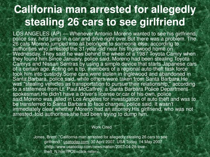 California man arrested for allegedly stealing 26 cars to see girlfriend