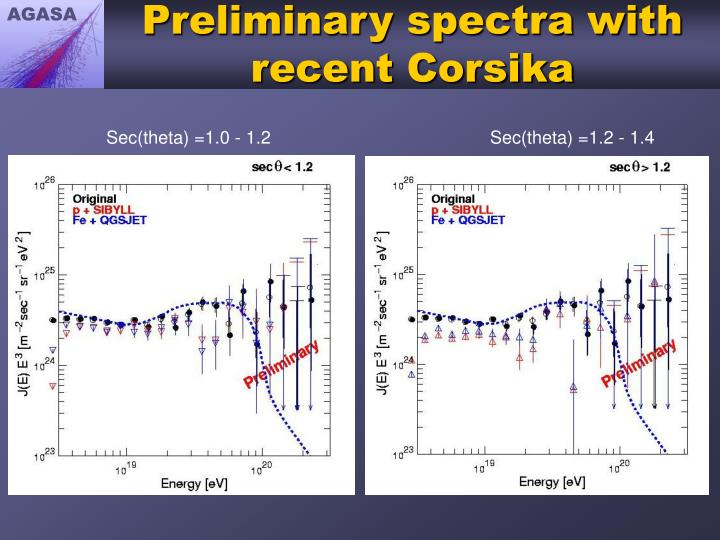 Preliminary spectra with recent Corsika
