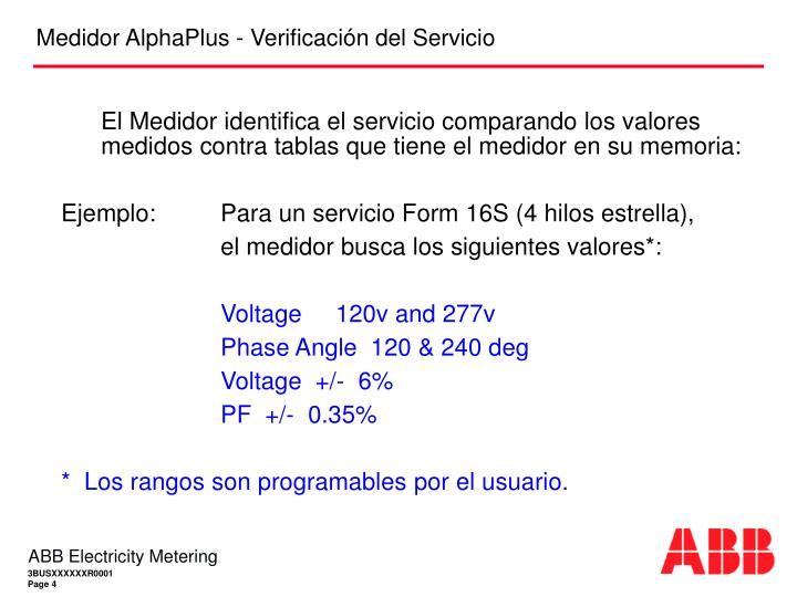 El Medidor identifica el servicio comparando los valores medidos contra tablas que tiene el medidor en su memoria: