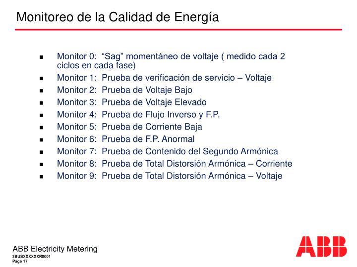 """Monitor 0:  """"Sag"""" momentáneo de voltaje ( medido cada 2 ciclos en cada fase)"""