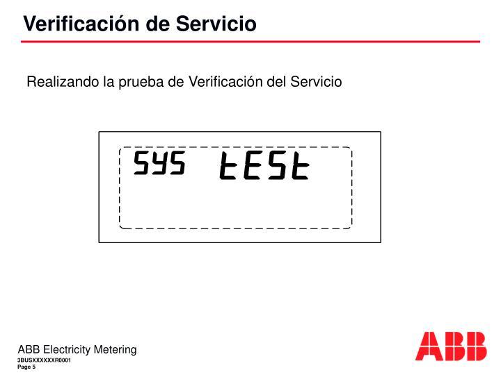 Realizando la prueba de Verificación del Servicio