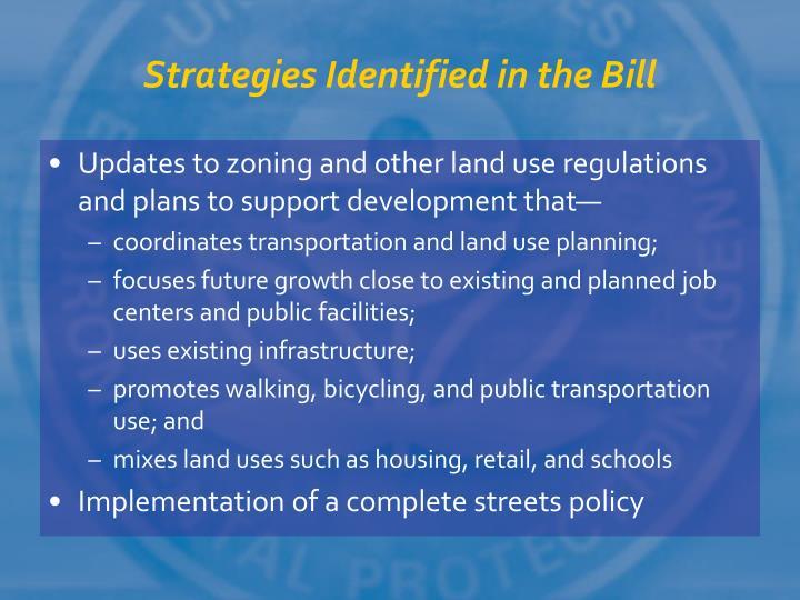 Strategies Identified in the Bill