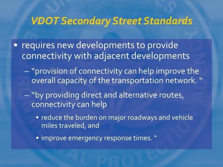 VDOT Secondary Street Standards