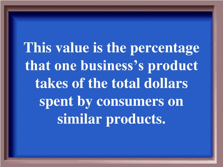 This value is the percentage that one business's product takes of the total dollars spent by consumers on similar products.