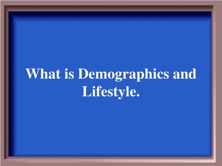 What is Demographics and Lifestyle.