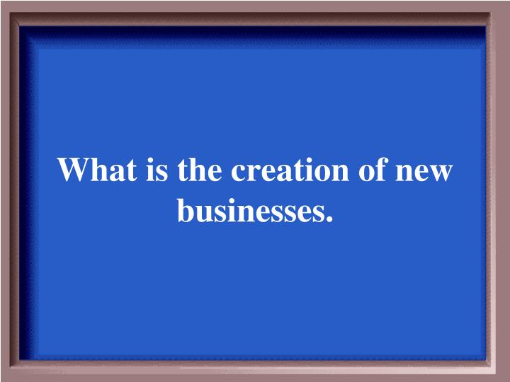 What is the creation of new businesses.
