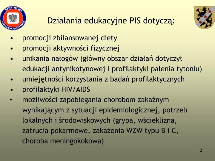 Działania edukacyjne PIS dotyczą: