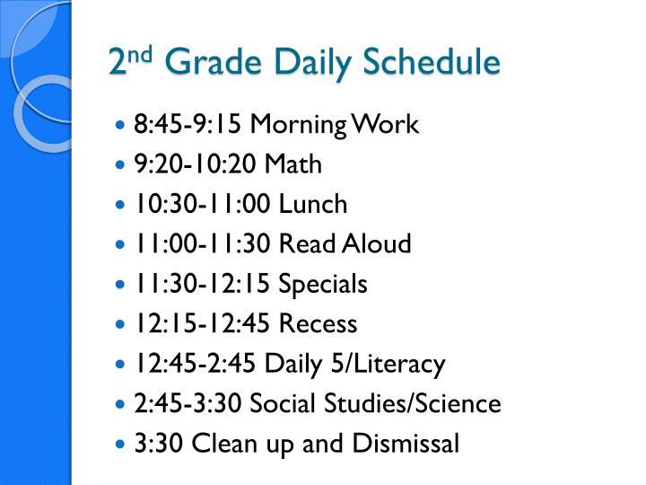 2 nd grade daily schedule
