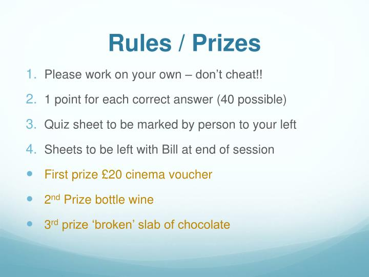 Rules prizes