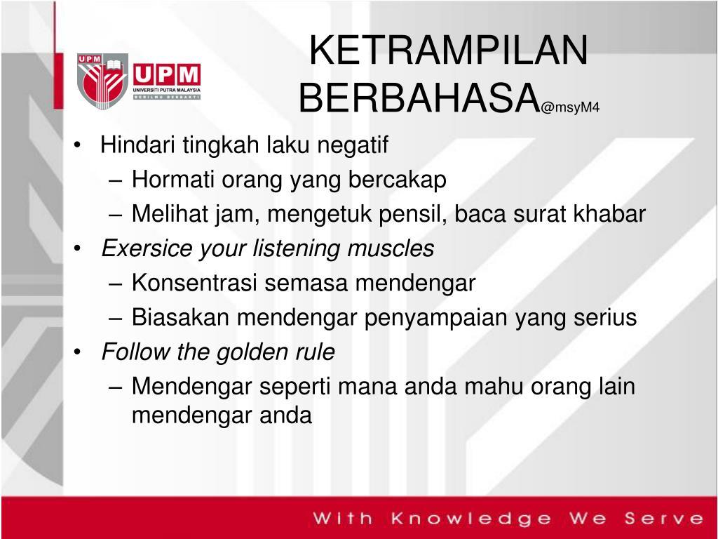 PPT BBM 3411 KETRAMPILAN BERBAHASA PowerPoint Presentation