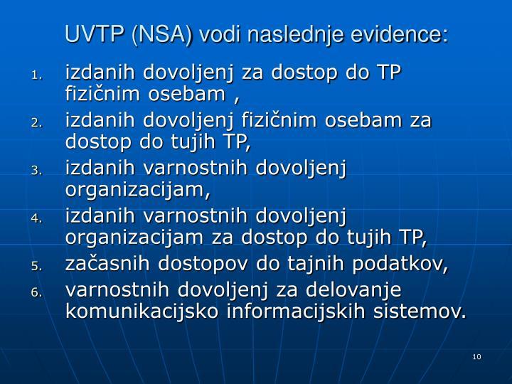 UVTP (NSA) vodi naslednje evidence: