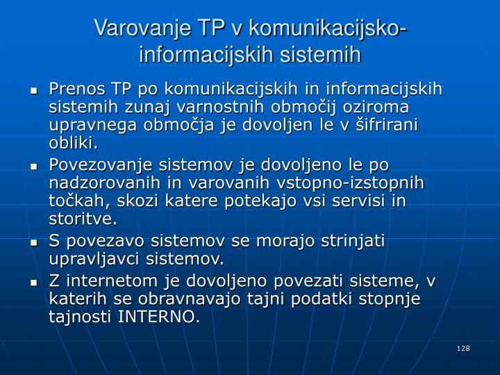 Varovanje TP v komunikacijsko-informacijskih sistemih