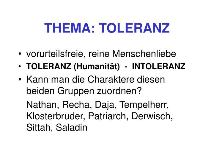 THEMA: TOLERANZ