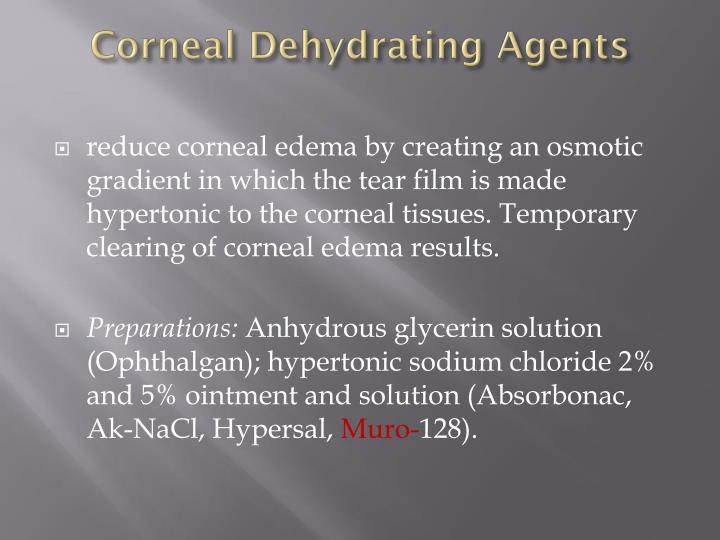 Corneal Dehydrating Agents