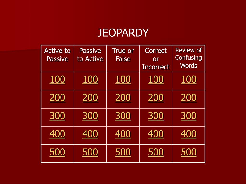 PPT - Active to Passive Voice Jeopardy PowerPoint