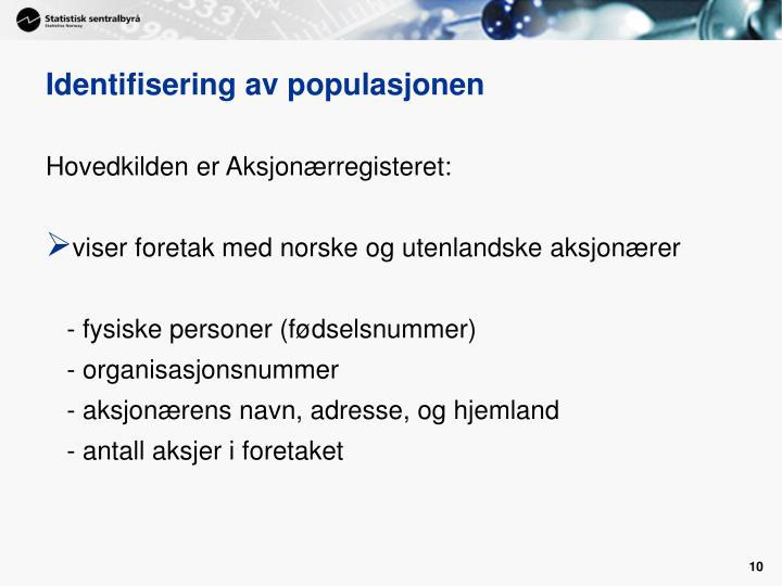 Identifisering av populasjonen