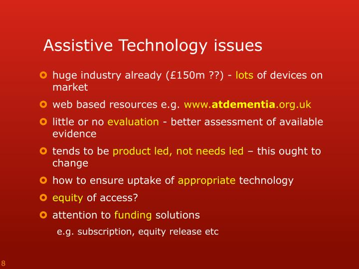 Assistive Technology issues