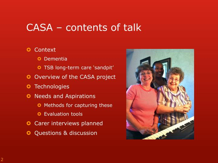 Casa contents of talk