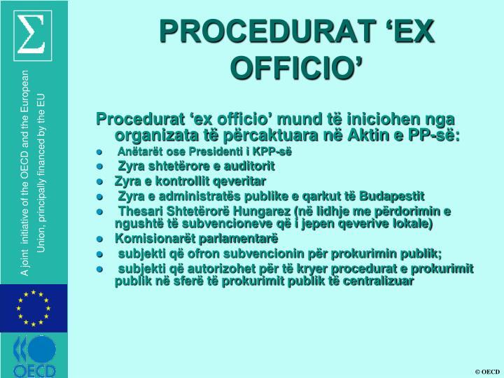 PROCEDURAT 'EX OFFICIO'