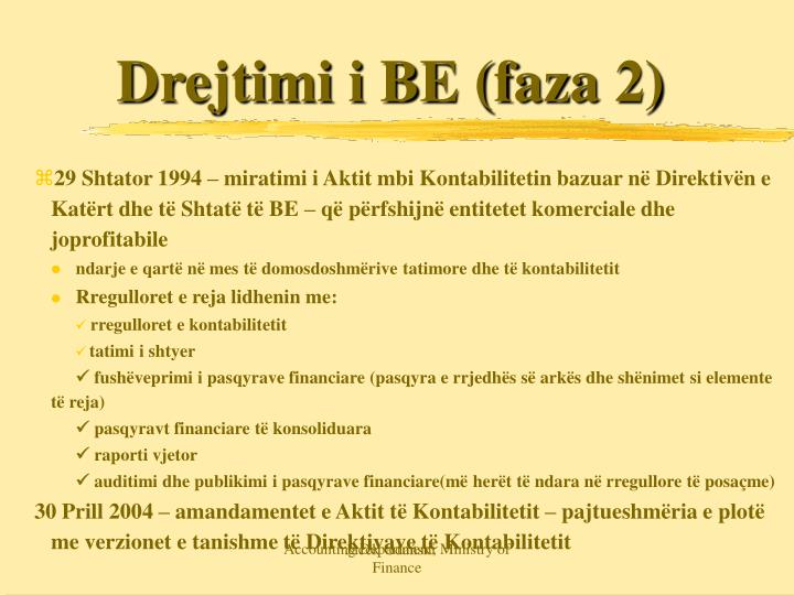 Drejtimi i BE (faza 2)