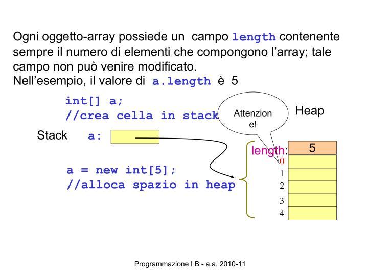 Ogni oggetto-array possiede un  campo
