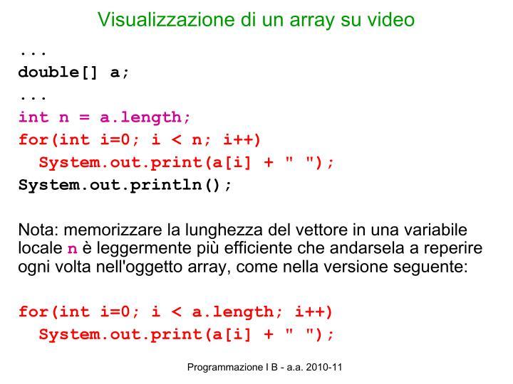 Visualizzazione di un array su video